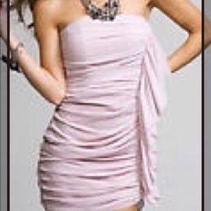 Express Strapless Chiffon Dress w/Side Ruffle Sz 8